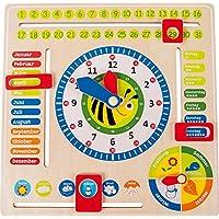 Lernuhr aus Holz, farbenfrohe Lerntafel enthält Datum, Uhrzeit als auch Jahreszeiten, mit drehbaren Zeigern und schiebbaren Kästchen, für Kinder ab 3 Jahren