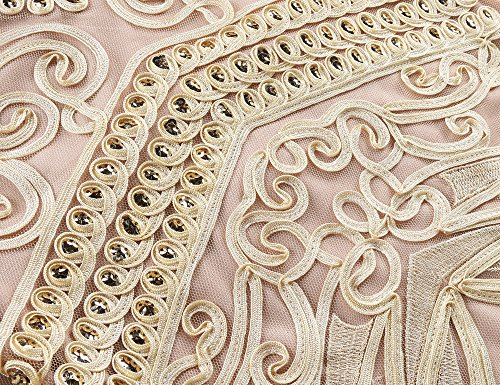 PrettyGuide Damen 1920er Gatsby Ballkleid Meerjungfrau Lange Formelle Abendkleid Beige Rosa