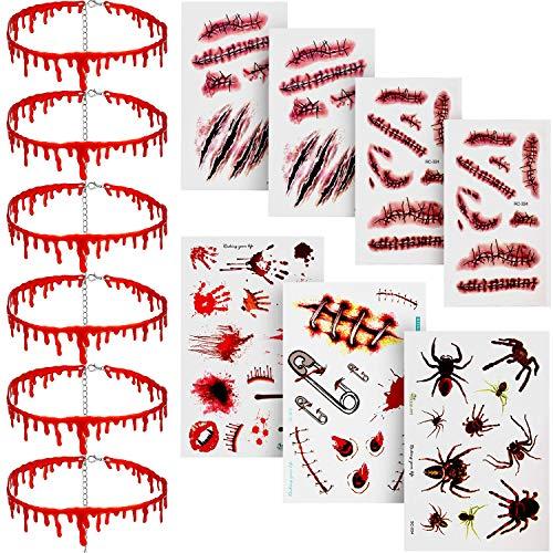 6 Stück Halloween Tropfen Blut Halskette Vampire