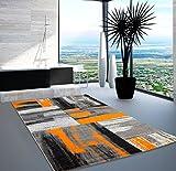 Lalee Moderner Designer Swing Teppich Flachflor Farbverlauf Design Orange Grau Schwarz, Größe in cm:80 x 150 cm