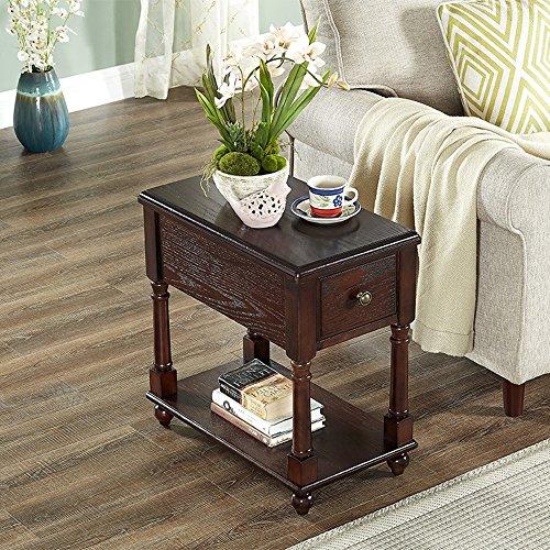FEI étagères Table basse avec tiroir Table de chevet en bois massif Table de chevet Table de chevet téléphonique L56 * W33 * H59CM. (Couleur : C)
