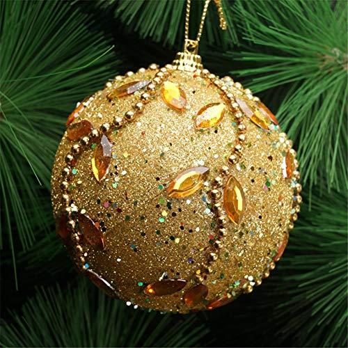 Xdised9xsmao 8 centimetri di strass glitterato leggero intarsiato palla di schiuma natalizia pallina di natale albero appeso decorazione ornamento verde