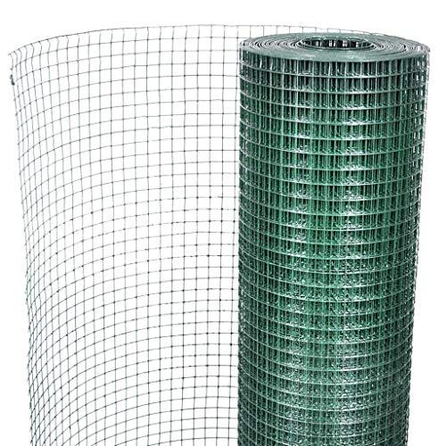 Galapara Drahtgitter 4 Eck, Maschendraht-Geflecht, verzinkt Stahl Wühlmausgitter Volierendraht Wühlmausschutz Maschendraht Zaun - grün - 19 x 19 mm | 1m x 10m