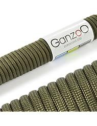 Ganzoo - Cavo per paracadute Paracord 550, universale, fune tipo Kernmantel in nylon, 250 kg, lunghezza totale 31 m, cavo non adatto a scalate, colore: Verde olivaMarca Ganzoo