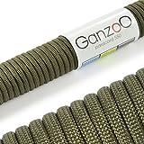 Paracord 550 Seil Armee-Grün | 31 Meter Nylon-Seil mit 7 Kern-Stränge | für Armband | Knüpfen von Hunde-Leine oder Hunde-Halsband zum selber machen | Seil mit 4mm Stärke | Mehrzweck-Seil | Survival-Seil | Parachute Cord belastbar bis 250kg (550lbs) - Marke Ganzoo