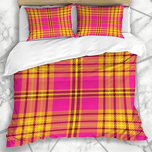ZOANEN Bettwäsche - Bettwäscheset Schottland-Band-Tartan-Plaid-Muster-Karierte rosa Grenzbriten-Kontrolle buntes Digital Mikrofaser weich dreiteilig Mit 2 Kissenbezügen 160 * 220 -