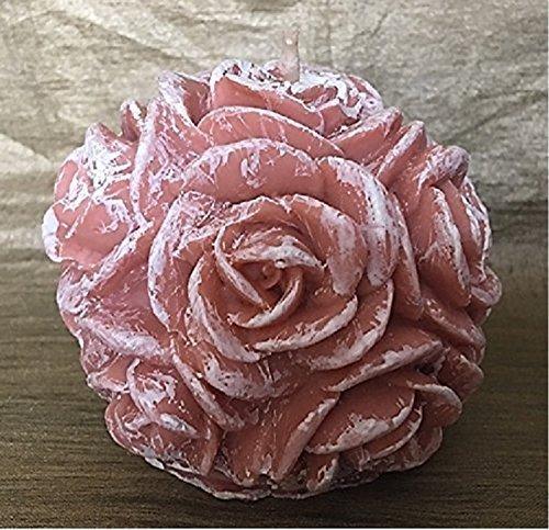 Bougie décorative sculpture boule de roses artisanale cire naturelle de soja parfum figue sucre roux