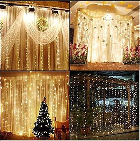 KNOW LED-Schnur-Lichter ----- 300 LED-Innen-und Außen Vorhänge Eiszapfen Lichterketten Lichterketten in der Hochzeit Gartenhaus Schlafzimmer genutzt Weihnachtsbeleuchtung Dekoration 3 m * 3 m (warmes Weiß)