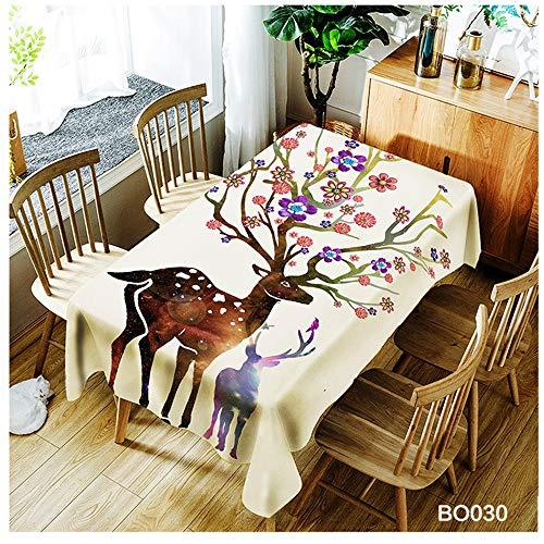 QWEASDZX Kreative Mode Tischdecke Polyester Digitaldruck wasserdichte Anti-Fleck-Tischdecke Geeignet für Innen- und Außenbereich Rechteckige Tischdecke Wiederverwendbar 150x260cm