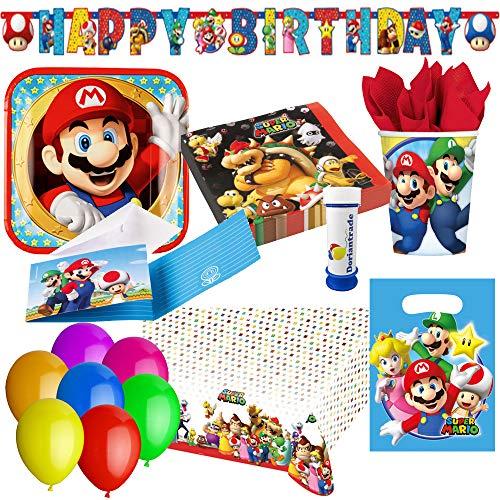 Super Mario Partyset 79-tlg. für 8 Kinder zum Kindergeburtstag Geburtstag Partydeko ()