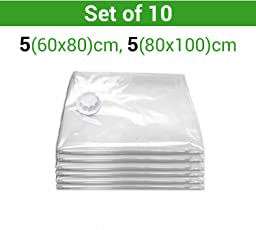 TIED RIBBONS Vacuum Compressed Space Saver Storage Bags Ideal for Clothes, Duvets, Bedding, Pillows, Curtains and Travelling Set of 10(5 pcs,80 cm X 100 cm and 5 pcs 80 cm X 100 cm) Pump Not Included