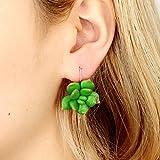 Upxiang Grün nicht übereinstimmende bunte baumeln fallende Ohrringe Kaktus Sukkulenten Pflanze Blume Ohrringe lustige Schmuck