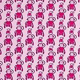 Swafing Jersey Vicente Retro Affen in rosa Öko-Tex Standard 100 (ab 25cm x 160cm)