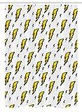 """Vintage Décrochage Rideau de douche par Ambesonne rétro, Flash Electric icônes avec des lignes à carreaux Funky Batman Boom Pop Art Comic, tissu de salle de bain Décor avec ensemble de crochets, Blanc Jaune, Tissu, Multicolore 1, 54"""" W By 78"""" L"""