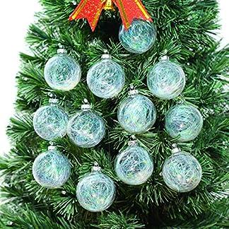 newdreamworld de Pack de 12x 67mm bolas de cristal transparente con espumillón para árbol de Navidad Vacaciones Adornos Decoración Boda suministros