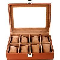 Leather World 8 Compartments Designer Pu Leather WWatch Box | Watch Case | Watch Holder | Watch Organizer in Pu Leather