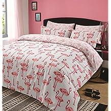 Dreamscene–Juego de funda de edredón y funda de almohada, estampado animal (flamencos rosas sobre fondo gris),para cama individual.