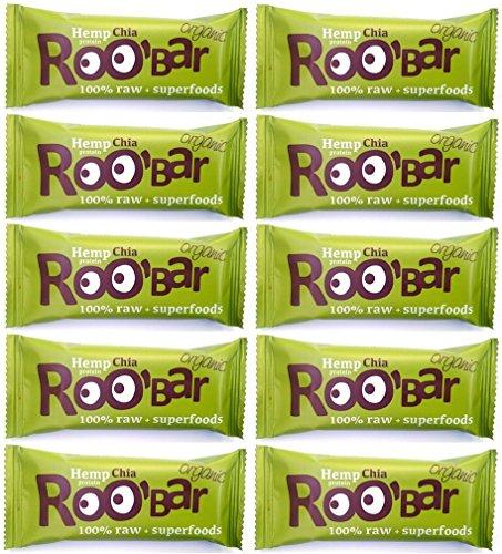 ROO'BAR Hanfprotein & Chia 50 g x 10 Stück - Rohkost-Riegel mit Superfoods (bio, vegan, glutenfrei, roh) 10x 50g