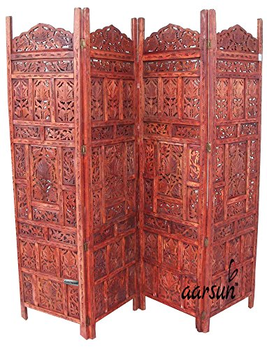 Aarsun Woods Aarsun: Hand Carved Sheesham Wood Partition Screen / Room Divider / Room Screen