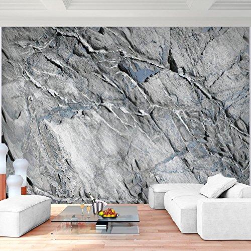 Fototapete Steinwand 3D Effekt Grau 396 x 280 cm Vlies Wand Tapete ...