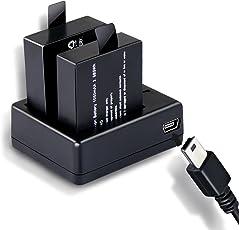 Action Cam Akku-1050MAH Wiederaufladbar 2 Akkus mit Einem Dual-Ladegerät für ODRVM/Akaso/vtin/icefox/Apeman/ORSKEY/JEEMAK/Vemont/CAMKONG/Campark/Victure 4K/Crosstour Actioncam