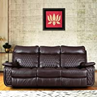 Woodcasa - Lotesso Leatherette 3 Seater Recliner Sofa Set (Brown)