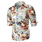 IMJONO Männer Bluse Sommer beiläufige dünne Lange Ärmel Bedruckte Shirt Top (EU-46/CN-M,B8-Mehrfarbig)