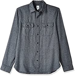 GAP Mens Casual Shirt (143022500018_35142000900_Small_Solid Black)