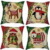 Confezione da 4cotone lino di Babbo Natale federa divano auto gettare cuscino Home Decor–gufo/Elk/Bear/Penguin, A, 45cm x 45cm