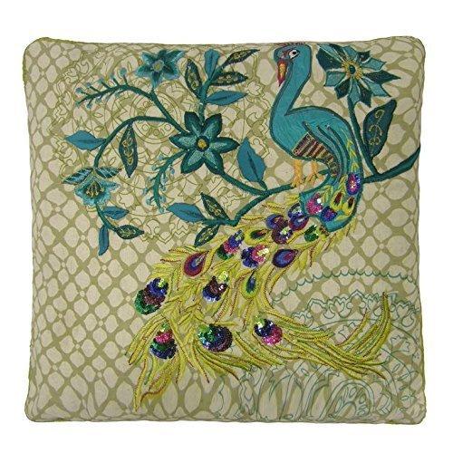 asiatici indiano ricamato paillettes verde ottanio pavone cuscino 45,7cm-45cm