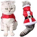 Legendog Abbigliamento per Animali Domestici di Natale, Gatto Costume Carino Reggiseno Babbo Natale Petalo Cappotto con Cappu