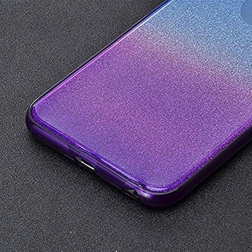 """iPhone SE 5 5S 4.0"""" Coque Full Protecion 360° INTEGRAL Silicone Transparent Etui TPU Gel Souple Intégral Avant Arrière Protecteur Anti-Choc Housse, Sunroyal 3 en 1 Ultra Mince Case Cover de Bumper Inv Bleu & Violet"""
