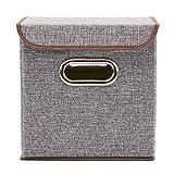 EZOWare 4-Pack Aufbewahrungsbox, 4-Pack Aufbewahrungsbox inkl. Deckel, Cube Aufbewahrungskorb Ordnungsystem Sauraum Boxen Körbe Kisten (Grau) - 25x25 cm - 4