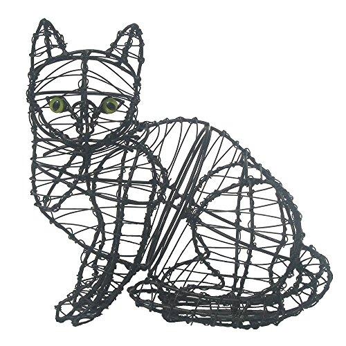 Gartenfigur sitzende Katze Drahtfigur 25 cm