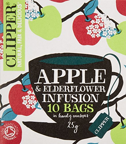 A photograph of Clipper organic apple and elderflower