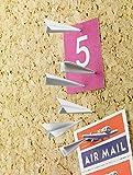 12Dekorative Papierflugzeug Reißzwecken - Reißnägel, Reißzwecken, aus Metall, für Heimbüro, Korktafel/Pinnwand