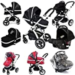 i-Safe System - Black Trio Travel System Pram & Luxury Stroller 3 in 1 Complete with Car Seat + Rain Covers