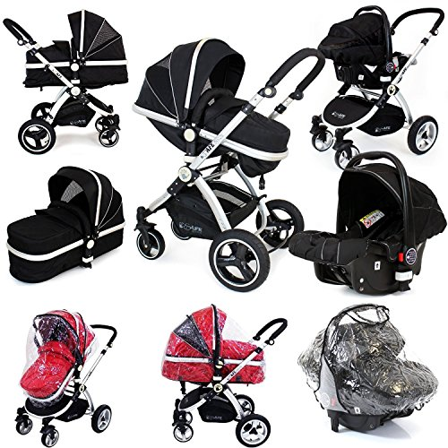 i-Safe System – Black Trio Travel System Pram & Luxury Stroller 3 in 1 Complete With Car Seat + Rain Covers 61eTL26ufAL