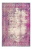 Hochwertiger Kurzflorteppich von Luxor Living, im Used-Look, besonders weich, pflegeleicht, robust, Vintage Stil, Teppich Antique für das Wohnzimmer, Schlafzimmerteppich, Farbe:Pink, Größe:160 x 230 cm