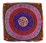 Indian Mandala Floor Pillow Square Ottoman Pouf Daybed Oversized Cushion Cover Cotton Seating Ottoman Poufs Dog / Pets Bed Sold By Bhagyoday Fashions