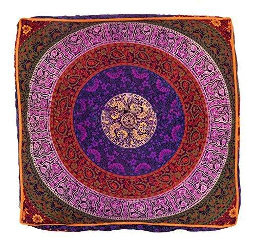 indischen Mandala Boden Kissen quadratisch osmanischen Pouf Sofa Übergroße Kissenbezug Baumwolle Platz Ottoman Puffs Hunde/Haustiere Bett Verkauft von bhagyoday Fashions (Osmanischen Outdoor-der Modernen)