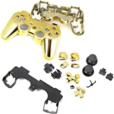 Imported Metal Plated Full Housing Shell Case Button Kit for Sony PlayStation3 PS3 Wireless Controller - Golden