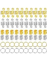 120 Pièces Dreadlocks de Cheveux en Aluminium Anneaux de Tresse de Cheveux Dreadlocks en Métal Perles de Tressage de Cheveux pour Accessoire de Cheveux (Or et Argent)