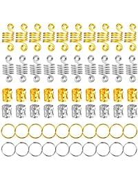 120 Piezas de Dreadlocks de Bobina de Pelo de Aluminio Anillos de Trenza de Pelo Puños de Pelo de Metal Abalorios de Trenza para Accesorios de Peinado (Dorado y Plateado)