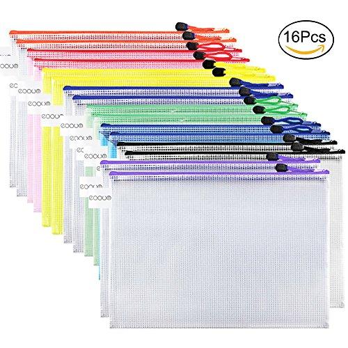 16 Stücke Aktenordner Dokumentenmappe Dokumententasche mit Reißverschluss Büroartikel Reisenorganizer in Größe A4 und 8 Farben