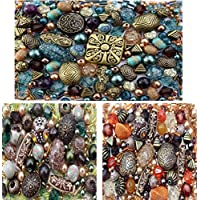 Approx 1200 Jewellery Beads includes 3 x sets of Jade, Orange & Brown Green Jewellery Making Mixed Beads