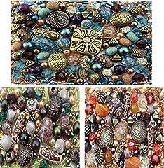 Idea Regalo - Perline per la creazione di gioielli, set da circa 1200, 3 colori: giada, arancione e marrone-verde