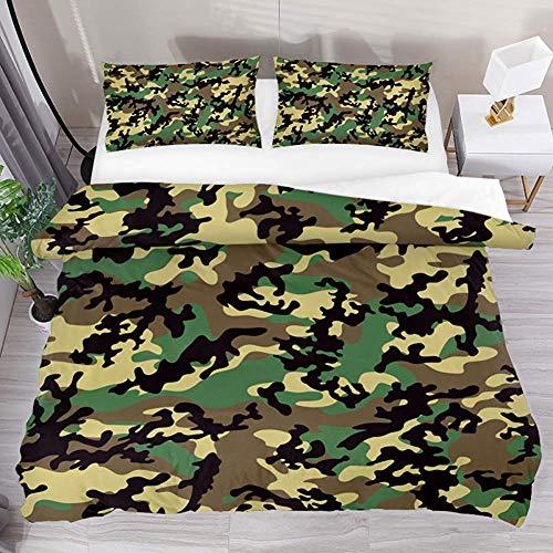 ABRAN Bedding Set Bettwäscheset Camouflage Green Black Pattern Queen 3tlg. Bettwäscheset Microfaser Quilt Tagesdecke mit 2 Kissenbezügen 1 Bettbezug -