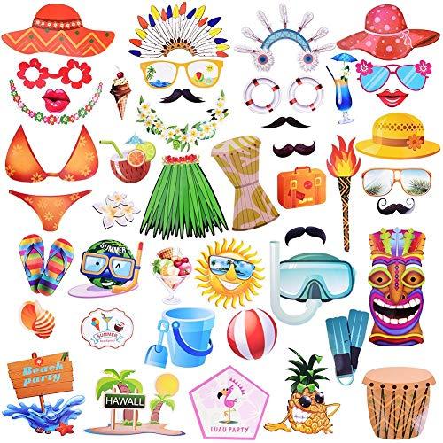 Dimoxii Foto Booth, Foto Requisiten Set für Halloween, Hochzeit, Geburtstag, Abschlussfeier Oder Jede Andere Party Dekoration (Hawaii Party)