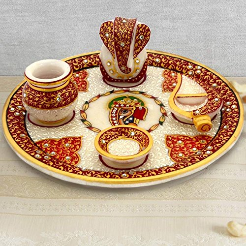 Handicrafts Gift House Gold Painted Lord Ganesha Idol Marble Pooja Thali 389  available at amazon for Rs.934